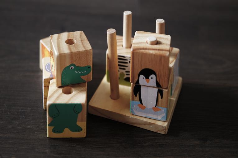 dřevěné kostky, kostky s obrázky Tchibo