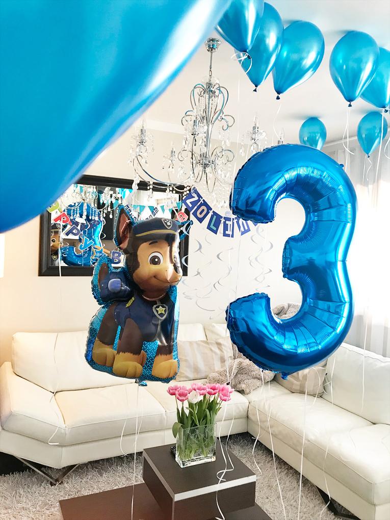 3.narozeniny, dětská oslava, dekorace k narozeninám, balonky, narozeninový dort